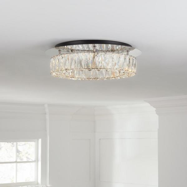 Home Decorators Collection Keighley Crystal 100 Watt Polished Chrome Integrated Led Flush Mount Cp 25117 The Home Depot