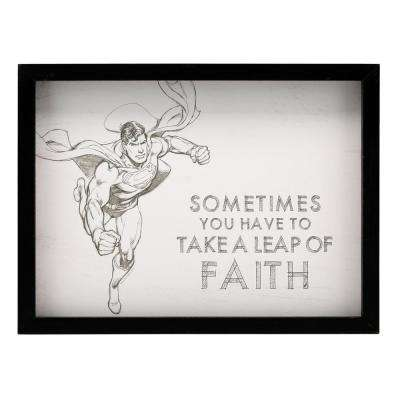 "12 in. x 16 in. ""Superman: Leap of Faith"" Framed Wood Wall Art"
