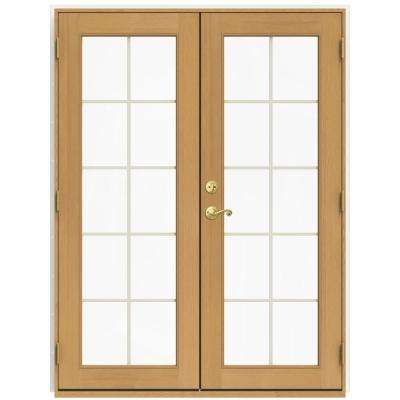59.5 in. x 79.5 in. W-2500 Brilliant White Left-Hand Inswing French Wood Patio Door