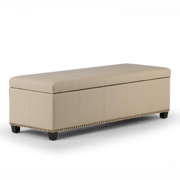 Kingsley 48 in. Transitional Storage Ottoman in Satin Cream Bonded Leather