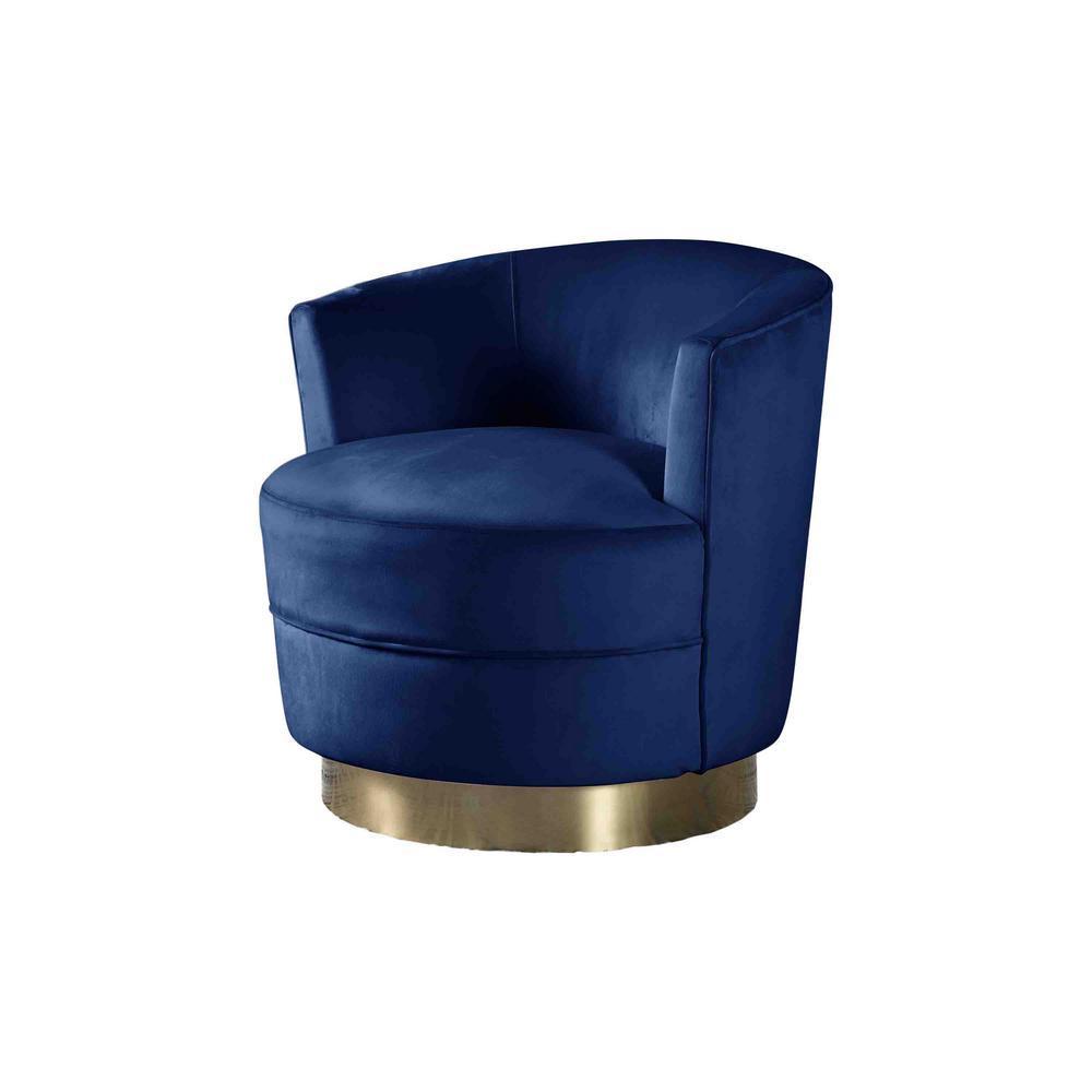 Best Master Furniture Midori Velour Blue Modern Swivel Accent Chair 632 The Home Depot