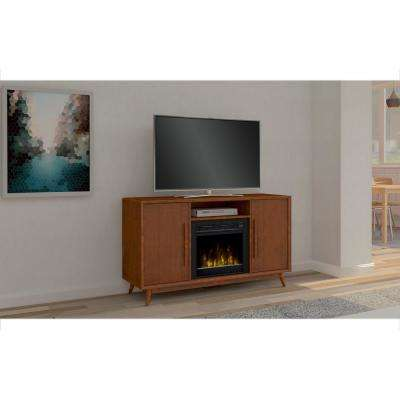 Leawood 54 in. Media Console Electric Fireplace in Mahogany Cherry