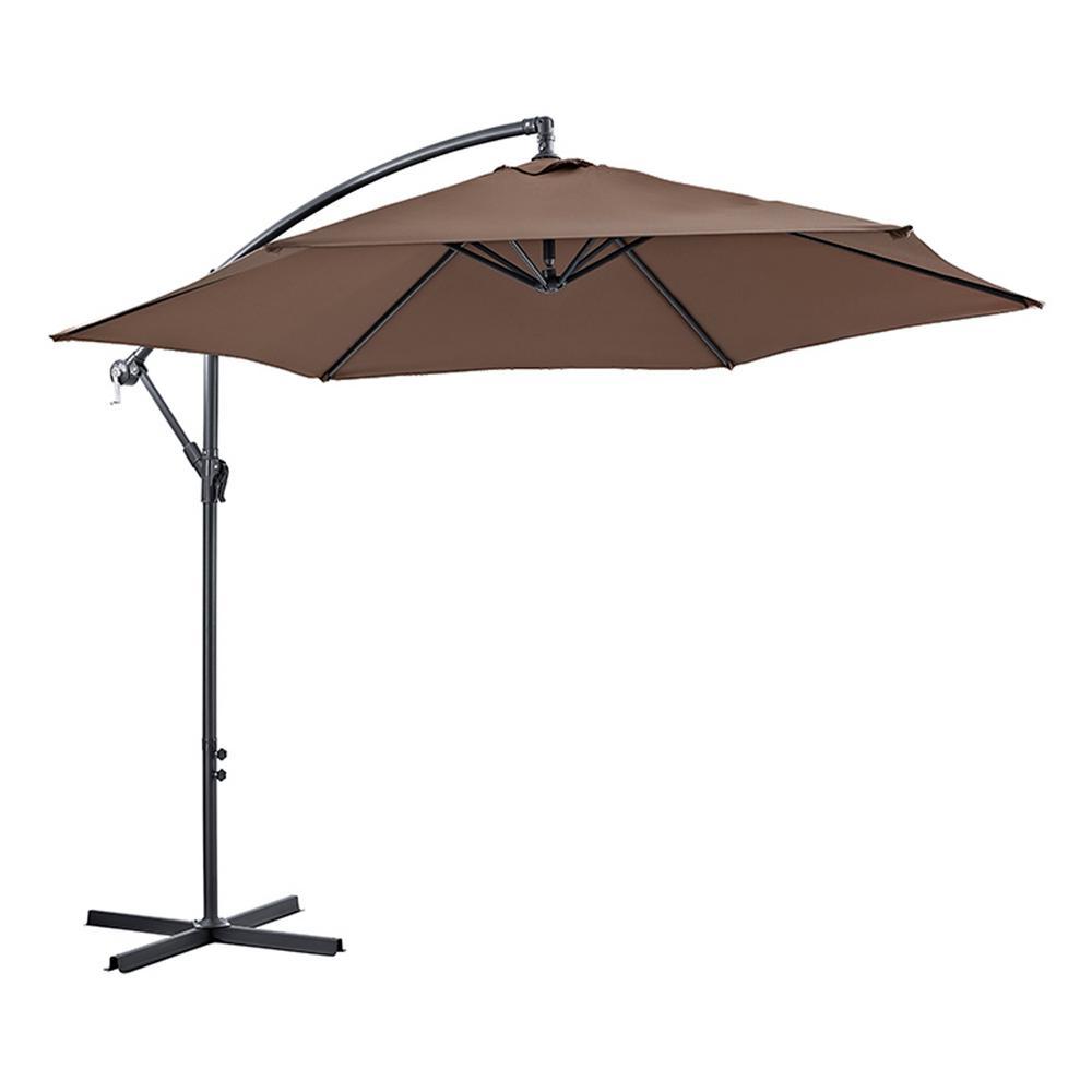 Cantaliever 9 ft. Patio Umbrella in Brown