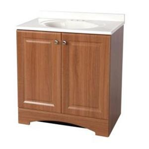 30.50 in. Bath Vanity in Golden Pecan with Cultured Marble Vanity Top in White with White Basin