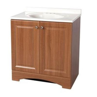 30 in. Bath Vanity in Golden Pecan with Cultured Marble Vanity Top in White with White Sink