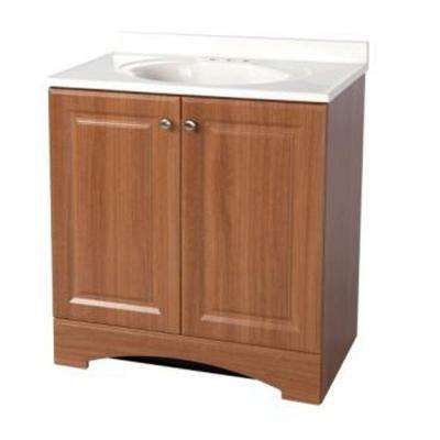 30 in. Vanity in Golden Pecan with AB Engineered Composite Vanity Top in White
