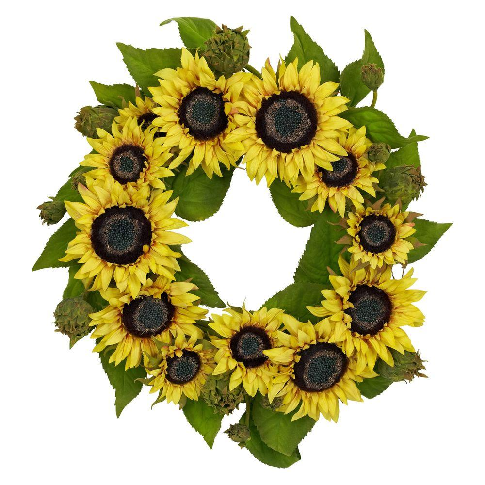 Nearly Natural 22.0 in. H Yellow Sunflower Wreath