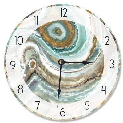 """Abstract Geode Teal and Copper"" by Third and Wall Wall Clock"