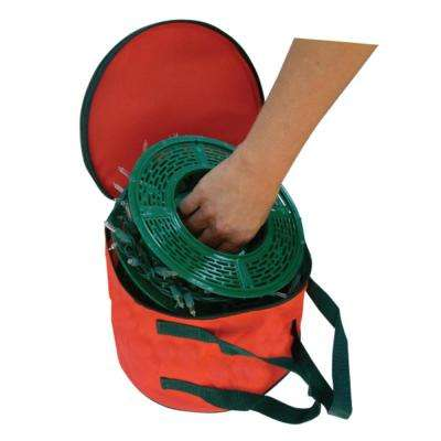 Set of 3 Christmas Light Storage Reels with Red and Green Polyester Zip Up Bag