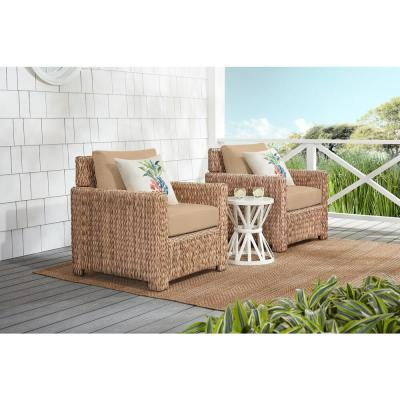 Laguna Point Natural Tan Wicker Outdoor Patio Stationary Lounge Chair with Sunbrella Beige Tan Cushions (2-Pack)