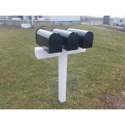 Post for 3 Mailboxes 42 in. x 31 in. x 5 in. Vinyl Sleeve, White