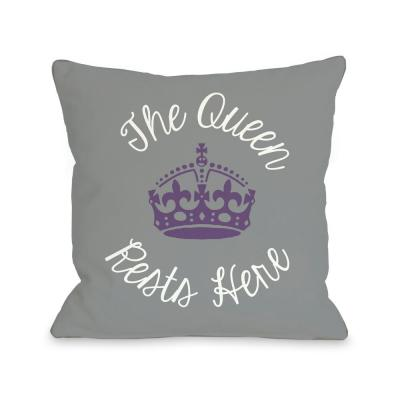 Queen Rests Here Gray White Purple Graphic Polyester 16 in. x 16 in. Throw Pillow