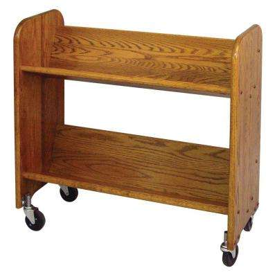 13 in. Oak Book Truck