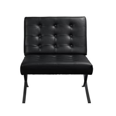 Perth Black Metal Powdered Coated and Bonded Leather Chair