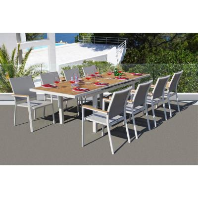 Essence White 9-Piece Aluminum Outdoor Dining Set with Sling Set in Mouse Grey