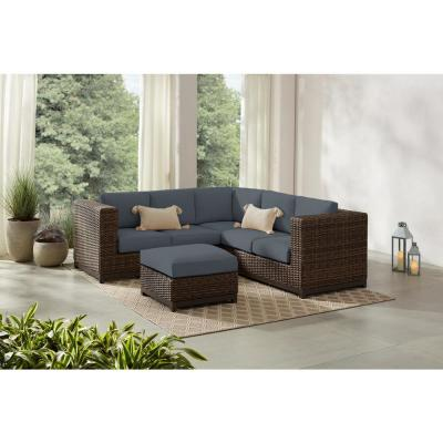Fernlake 4-Piece Taupe Wicker Outdoor Patio Sectional Sofa with CushionGuard Steel Blue Cushions