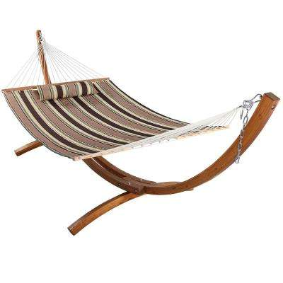 10-3/4 ft. Quilted 2-Person Hammock with 12 ft. Wooden Curved Arc Stand in Sandy Beach
