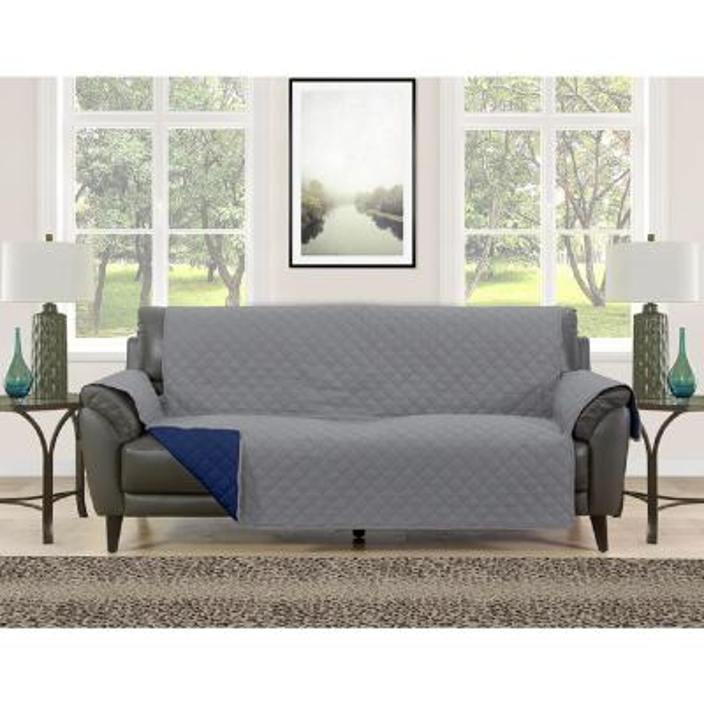 Barrett Grey/Navy Microfiber Reversible Couch Protector