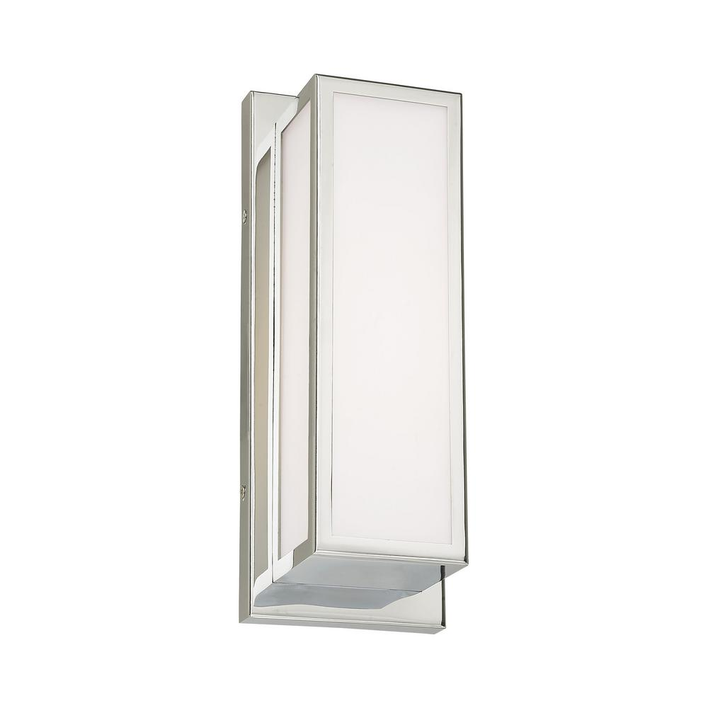 Livex Lighting Sutter 12 in. Polished Chrome LED Sconce with Hand Blown Satin Opal White Glass Shade