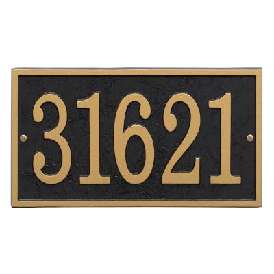 Whitehall Products Fast And Easy Rectangle House Number Plaque Black Gold 31265 The Home Depot