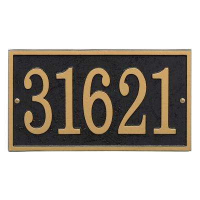 Fast and Easy Rectangle House Number Plaque, Black/Gold