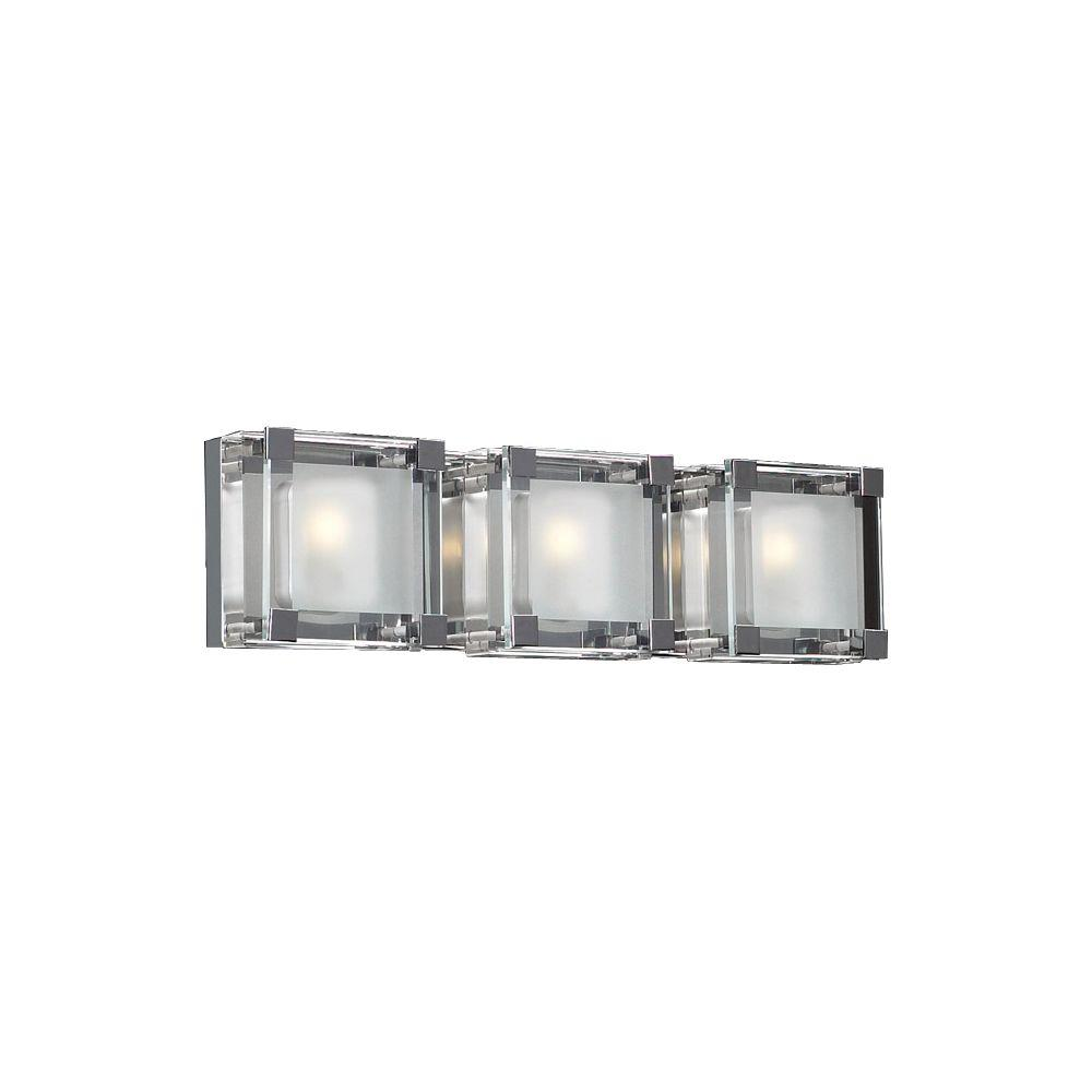 PLC Lighting 3-Light Polished Chrome Bath Vanity Light with Clear Glass