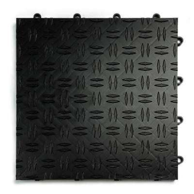12 in. x 12 in. Diamond Black Modular Tile Garage Flooring (24-Pack)