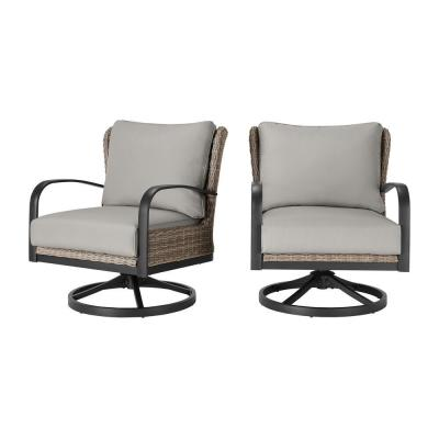 Hazelhurst Brown Wicker Outdoor Patio Swivel Lounge Chair with CushionGuard Stone Gray Cushions (2-Pack)
