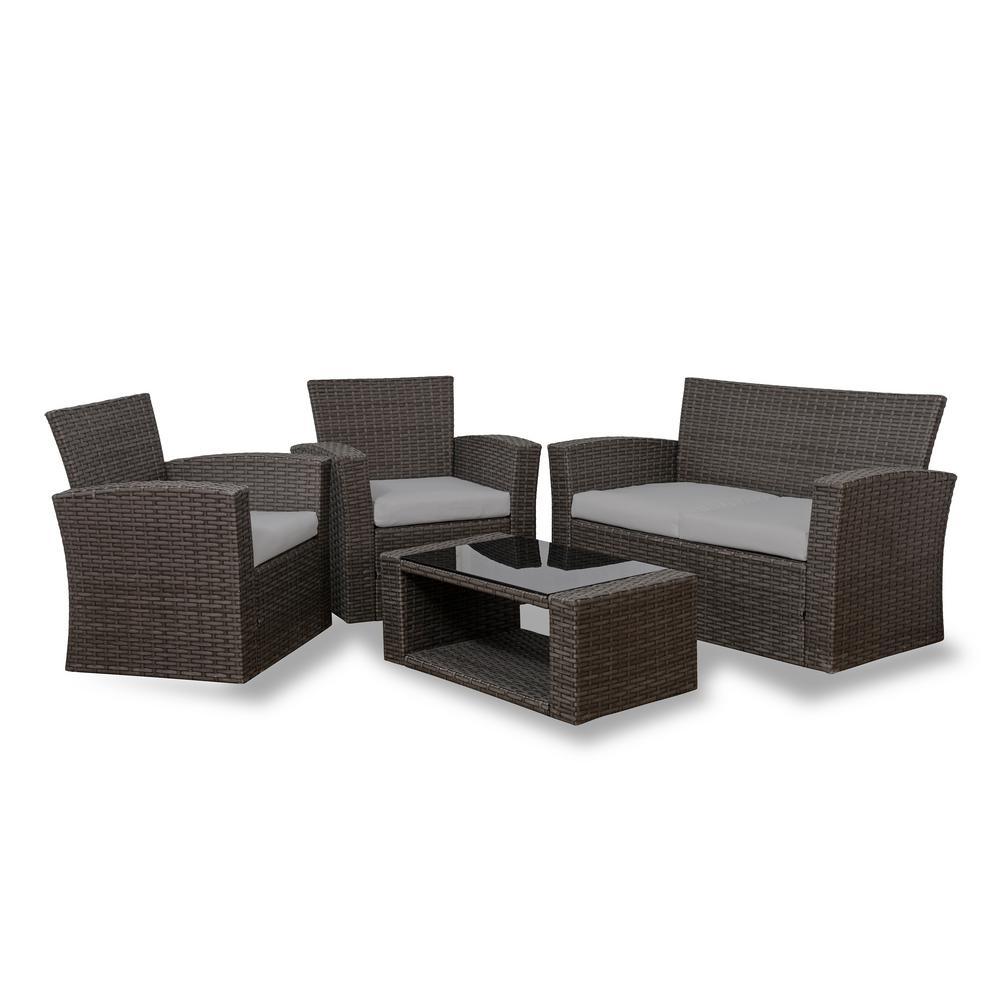 Hudson 4-Piece Rattan Wicker Patio Conversation Set with Gray Cushions