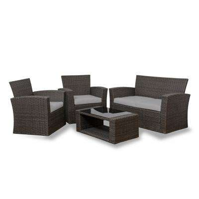Hudson 4-Piece Rattan Wicker Patio Conversation Set with Gray Cushions