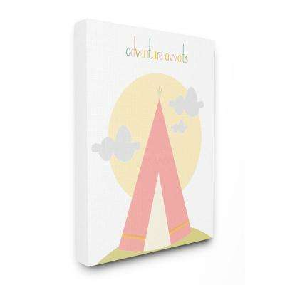 """16 in. x 20 in. """"Adventure Awaits Tee Pee in Pink"""" by Karen Zukowski (Finny And Zook) Printed Canvas Wall Art"""