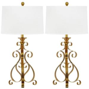 Safavieh Scroll Sculpture 31.5 inch Antique Gold Table Lamp with White Shade (Set of 2) by Safavieh