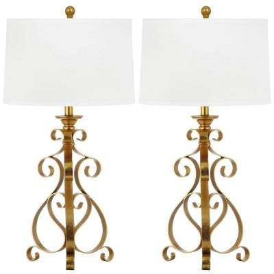 Scroll Sculpture 31.5 in. Antique Gold Table Lamp with White Shade (Set of 2)
