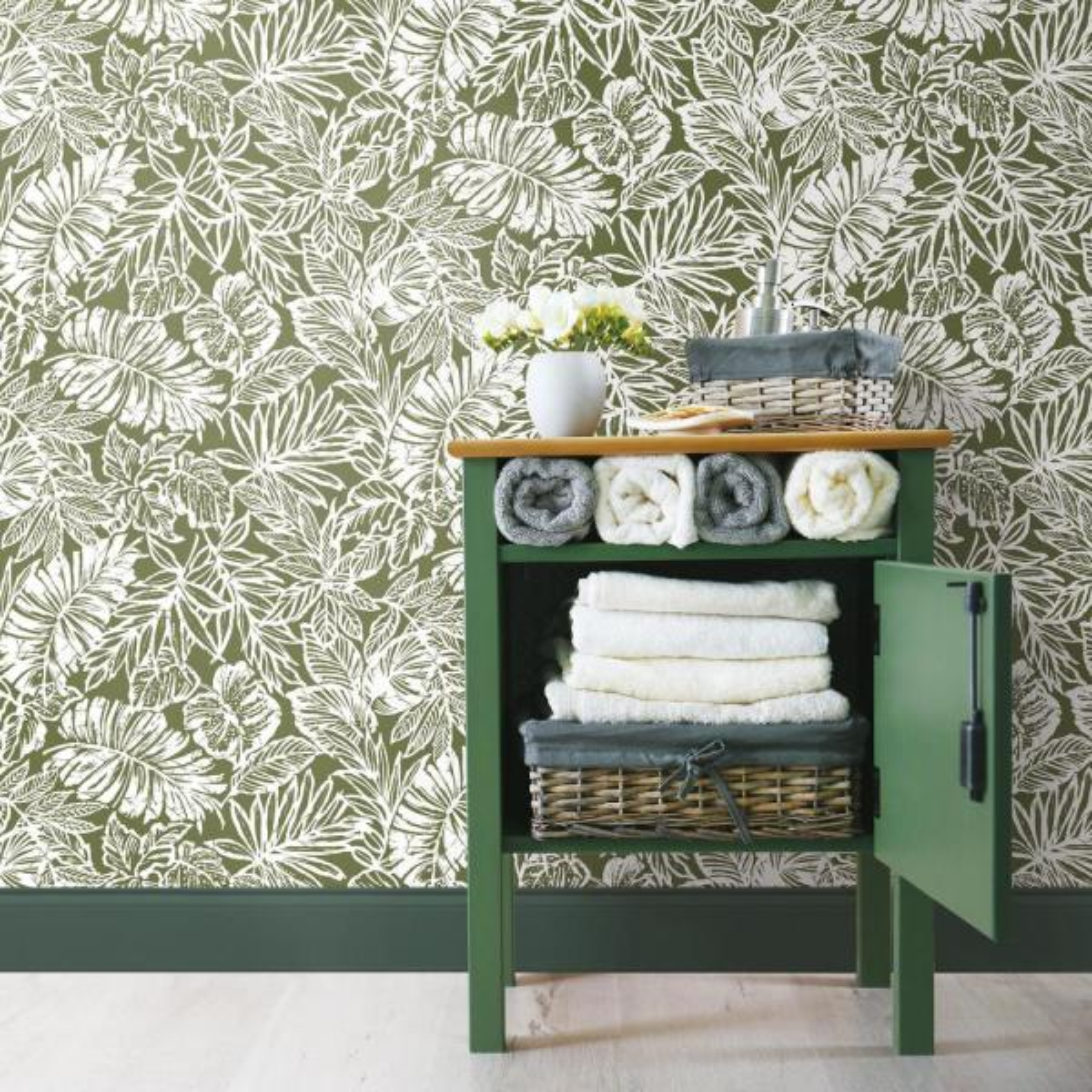 Roommates Batik Tropical Leaf Vinyl Peelable Wallpaper Covers 28 18 Sq Ft Rmk11441wp The Home Depot