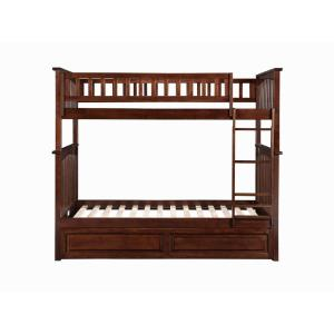 Columbia Bunk Bed Twin over Twin with Twin Raised Panel Trundle Bed in Walnut