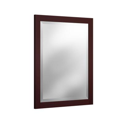 24 in. W x 30 in. H Framed Rectangular Beveled Edge Bathroom Vanity Mirror in Espresso