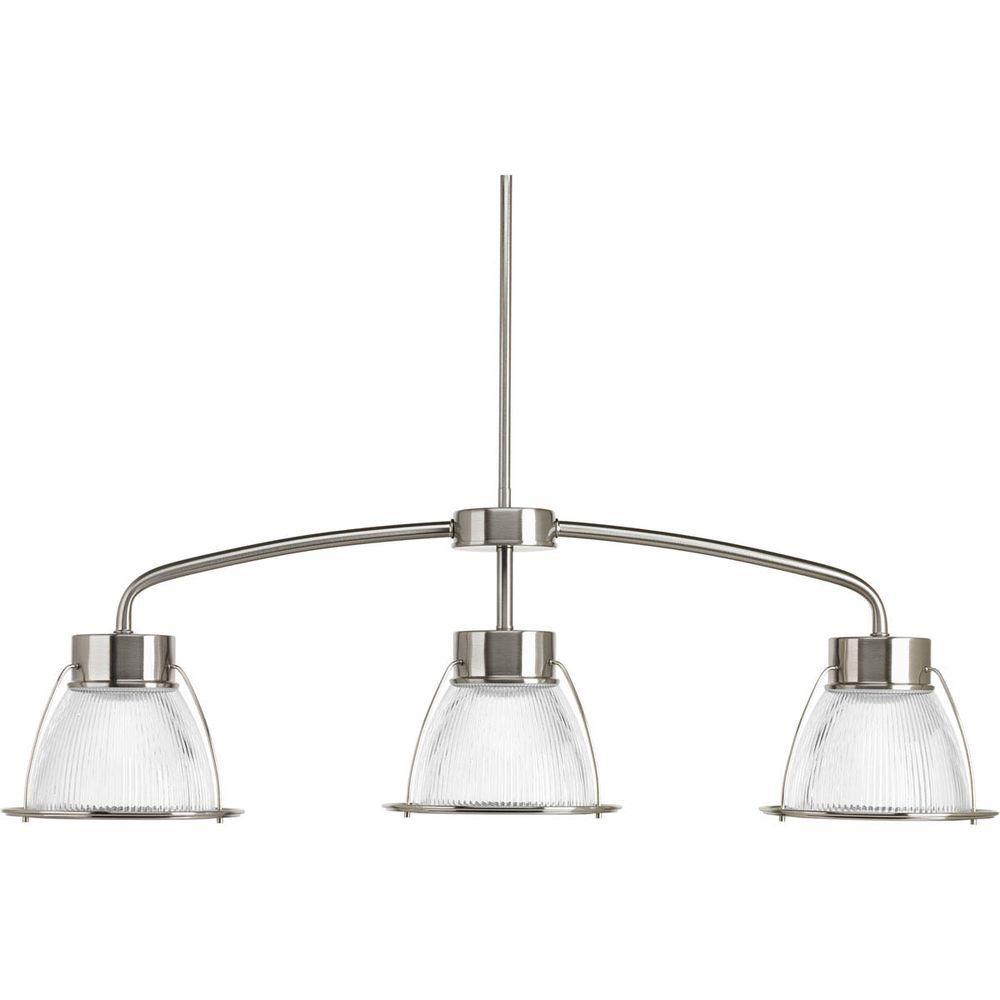 Prismatic Glass Collection 3-Light Brushed Nickel LED Linear Chandelier