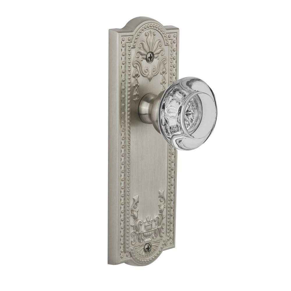 null Grandeur Satin Nickel Privacy Parthenon Plate with Bordeaux Crystal Knob