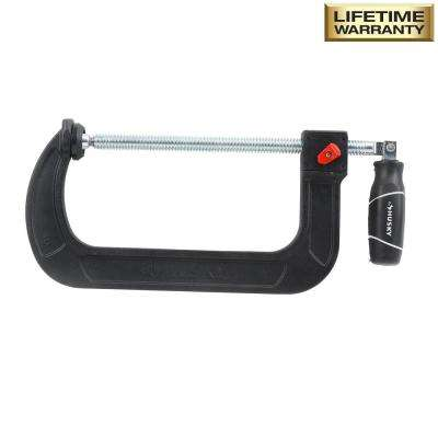8 in. Quick Adjustable C-Clamp with Rubber Handle