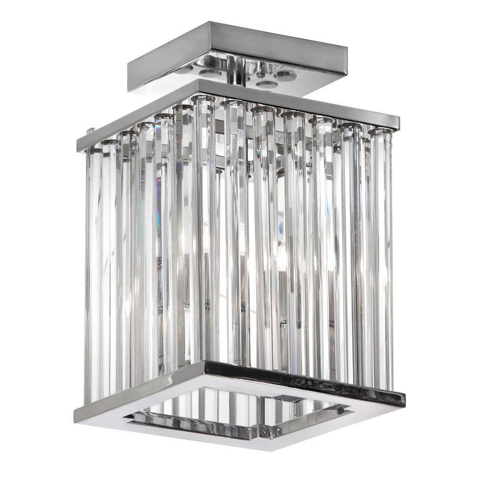 Aruba 2-Light Polished Chrome Crystal Flushmount
