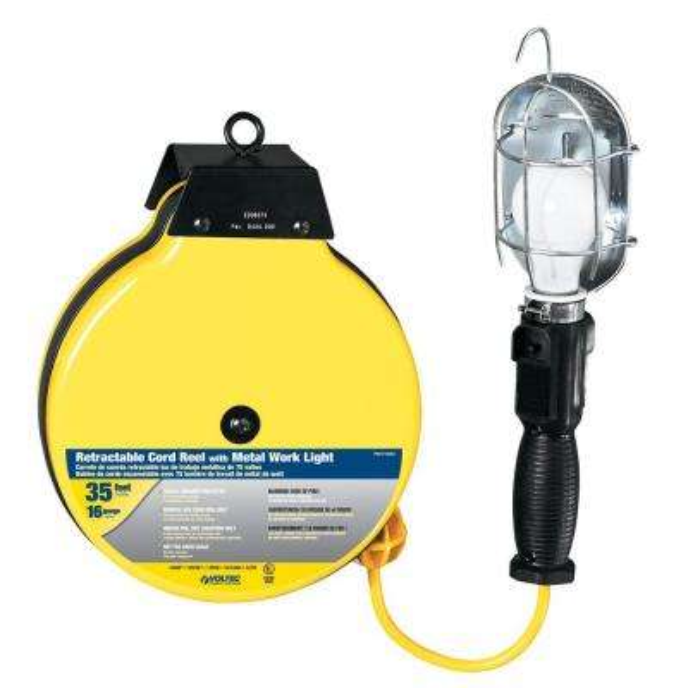 35 ft. 16/3 SJTW Metal Guard Worklight Retractable Cord Reel - Yellow and Black