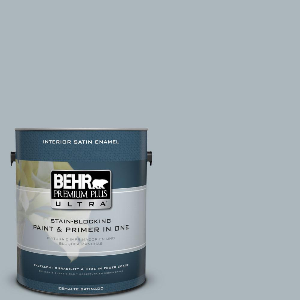 BEHR Premium Plus Ultra 1-gal. #N490-3 Shaved Ice Satin Enamel Interior Paint