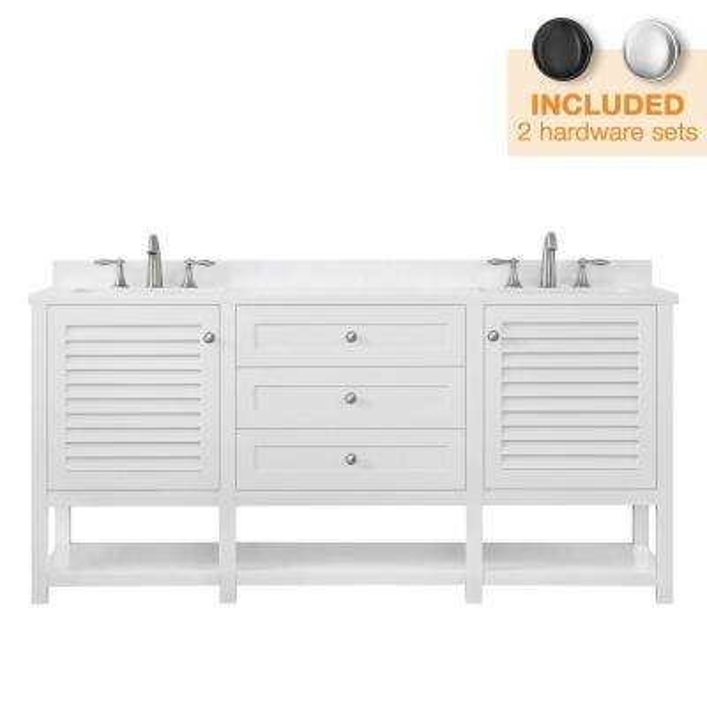 Grace 72 in. W x 22 in. D Bath Vanity in White with Cultured Marble Vanity Top in White with White Basins