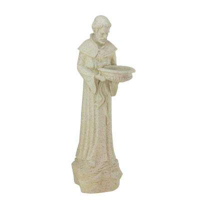 24 in. St. Francis of Assisi Speckled Gray Bird Feeder