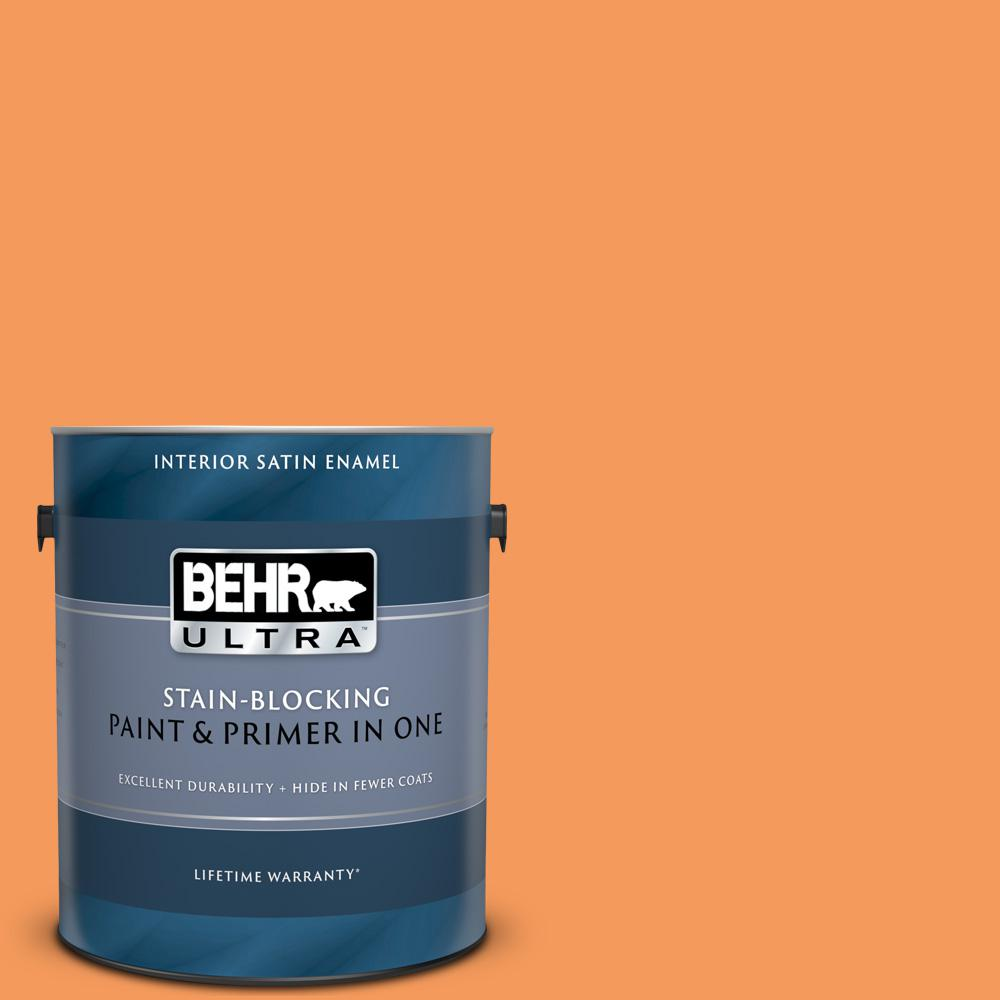Behr Ultra 1 Gal 260b 6 Blaze Orange Satin Enamel Interior Paint And Primer In One 775301 The Home Depot