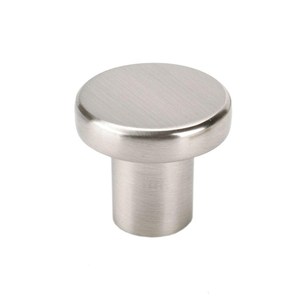 Italian Designs Collection 1 in. Stainless Steel Look Round Cabinet Knob