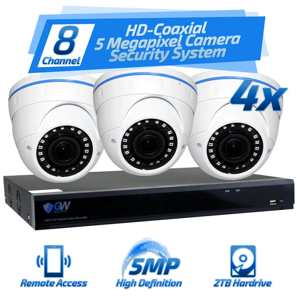 8-Channel HD-Coaxial 5MP Security Surveillance System with 4 Wired Dome Cameras