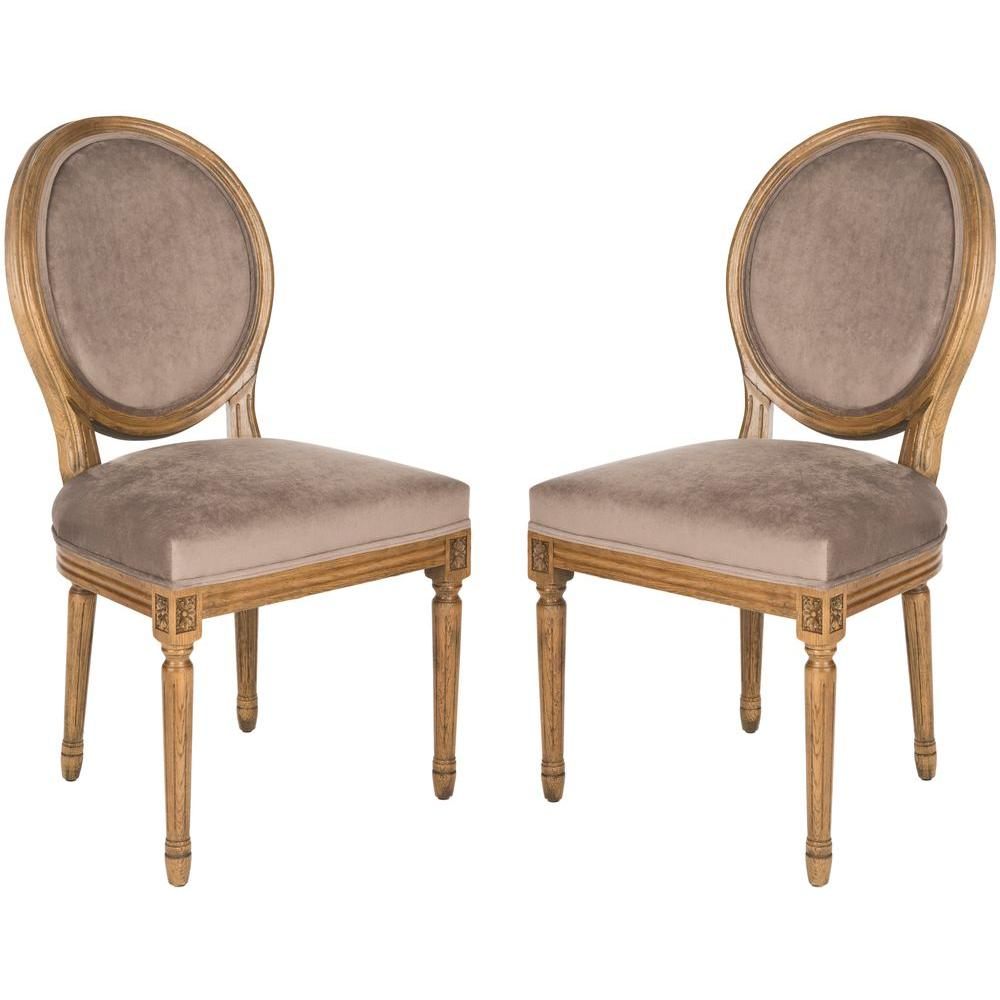 Safavieh Paris Oval Cotton Side Chair in Mushroom Taupe (Set of 2)