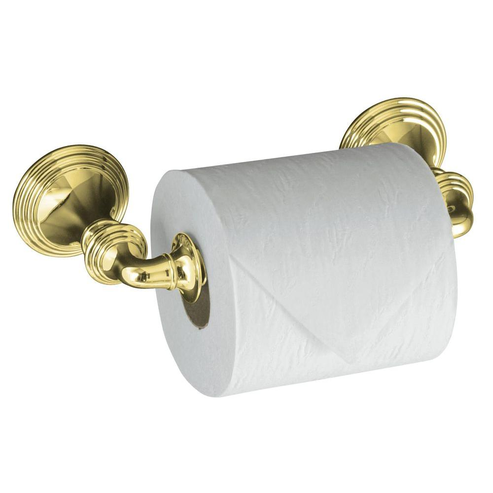 devonshire wall mount double post toilet paper holder in vibrant polished brass