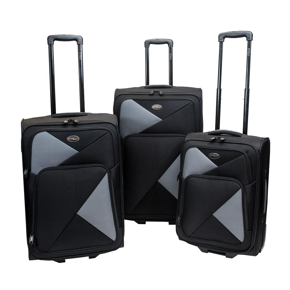 Sttelli Fragmento 3-Piece Black Luggage Set